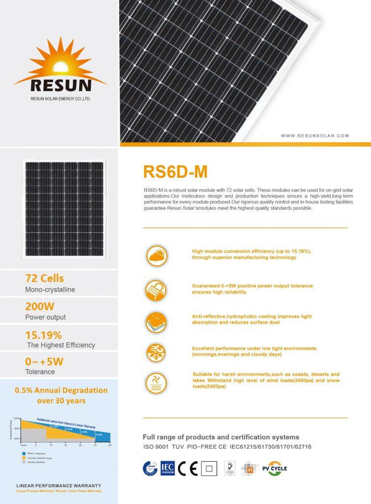 ficha técnica RESUN RS6D-M